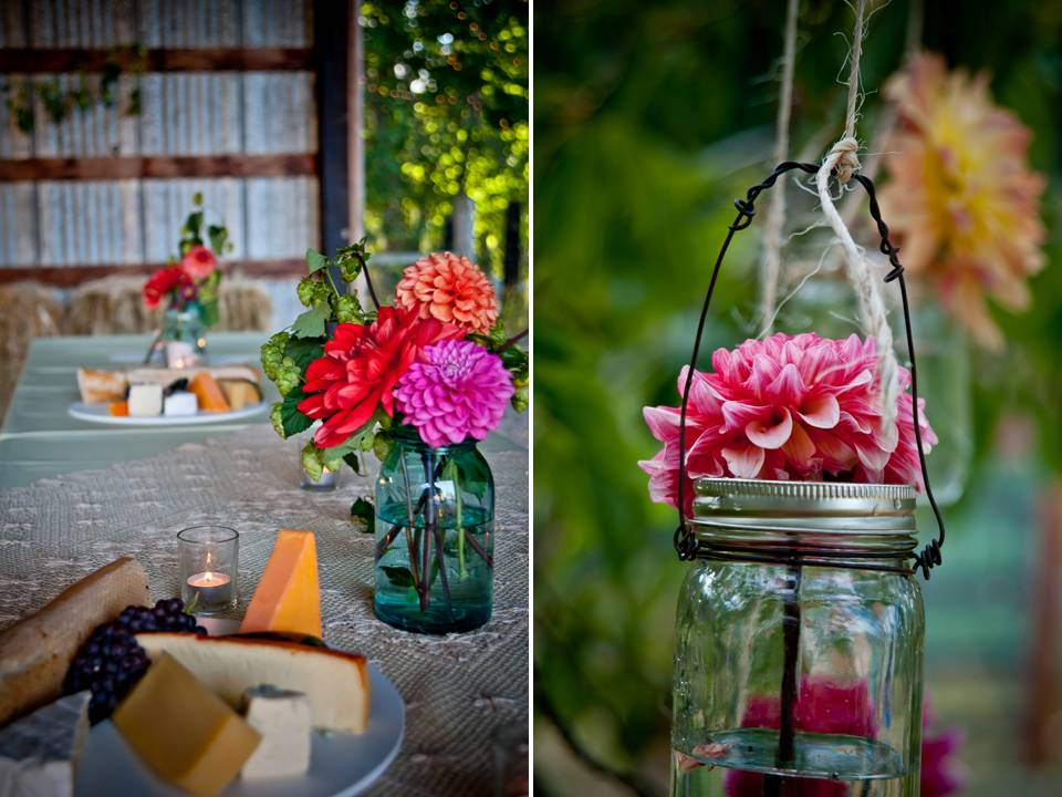 DIY wedding flower centerpiece with colorful daisies