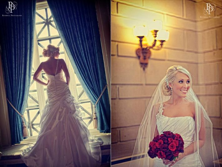 Bride wears white one-shoulder wedding dress and vintage hair clip with veil