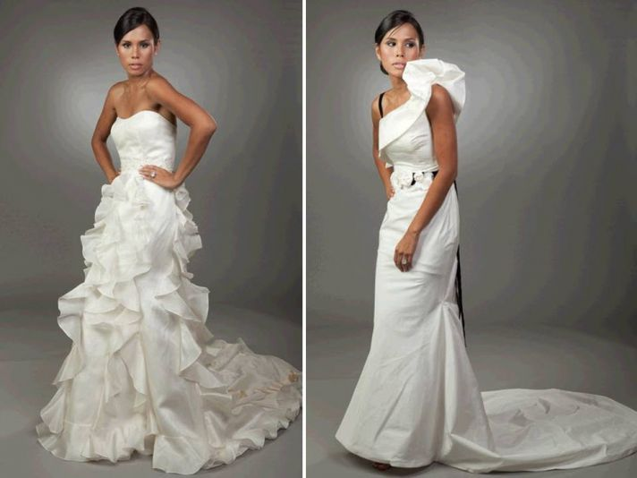 Strapless modified a-line textured wedding dress; sleek one-shoulder modified mermaid gown