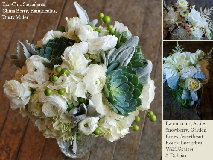 Classic ivory wedding flowers with green touches and eco-chic succulents