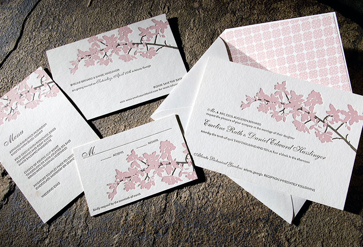 Romantic cherry blossom wedding invitations printed on ecofriendly bamboo