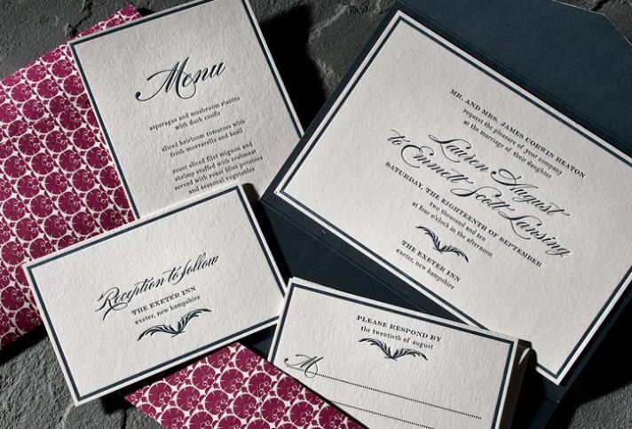 Luxe black and ivory classic letterpress wedding invitations