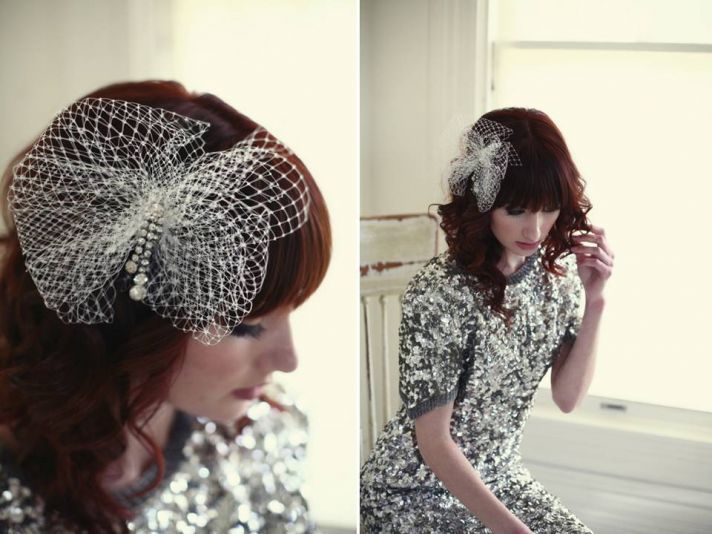 Gorgeous handmade bridal hair flower with French veiling