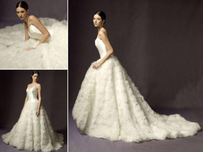 Dramatic strapless ballgown wedding dress with texture-rich skirt