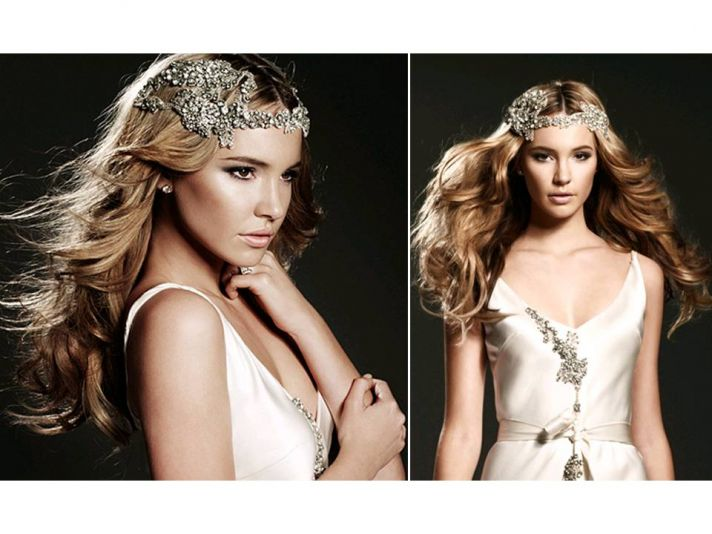 Vintage-inspired rhinestone encrusted bridal tiara and headband