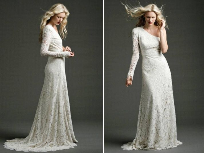 Modified a-line ivory lace wedding dress with one shoulder