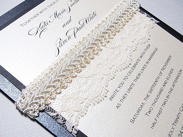 Lace-embellished wedding invitations via Etsy