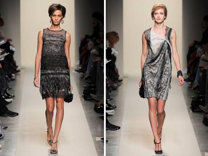Mini sheath style lace dresses by Bottega Veneta