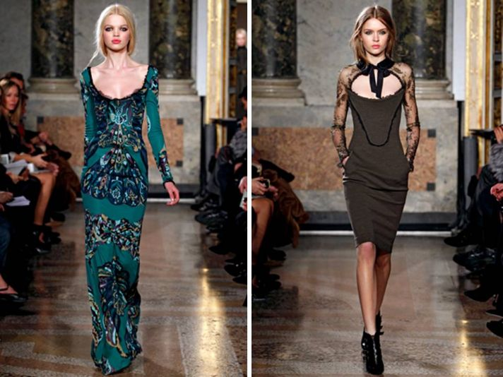 Sleek silhouettes and open necklines on Pucci 2011 catwalk