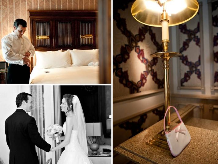 Groom gets ready in wedding reception hotel room, puts on tux, cuff links and tie