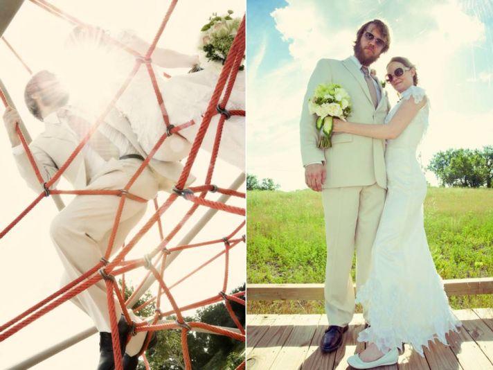 Bride wears ivory lace wedding dress, groom in khaki tailored suit