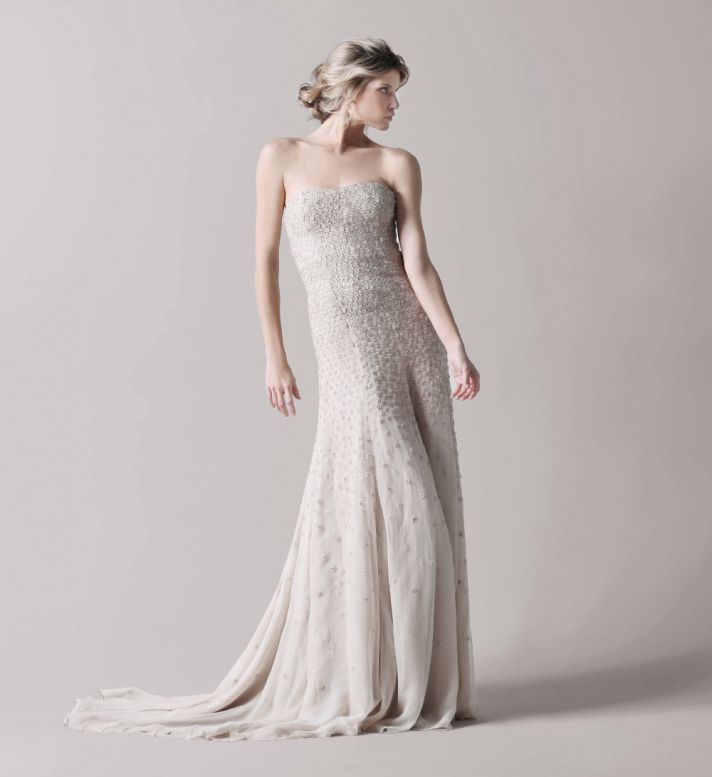 Stunning beaded Lela Rose strapless wedding dress