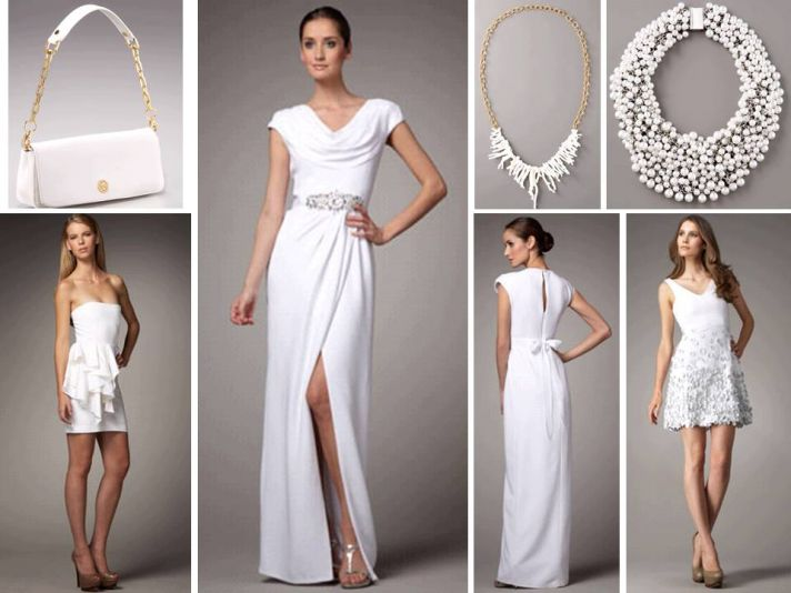 White grecian-inspired wedding dress with sultry slit; white statement necklaces