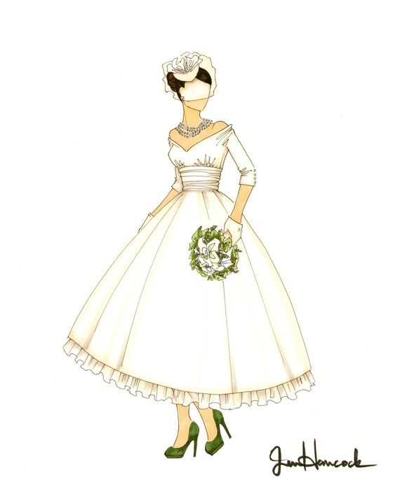 Illustrated vintage bride wears bird cage veil and tea-length ballgown wedding dress