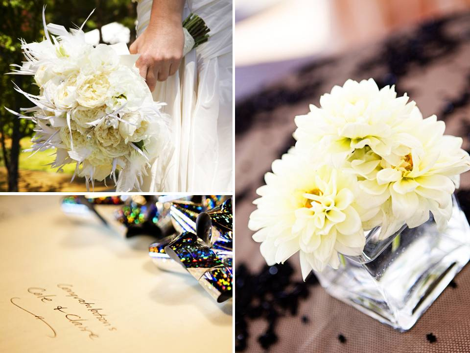 Simple ivory low floral centerpieces adorn Lake Tahoe wedding reception