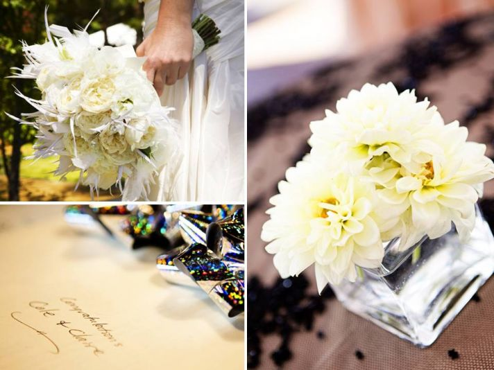 Simple ivory low floral centerpieces adorn Lake Tahoe wedding reception tables