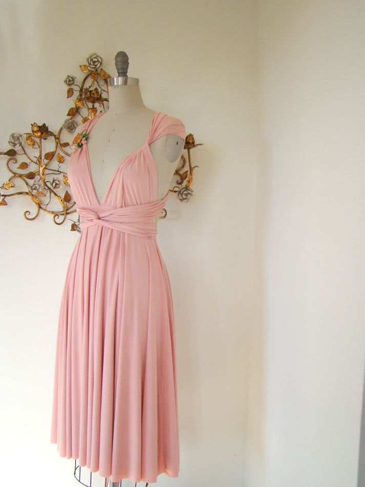 Petal pink convertible silk bridesmaid dress via Etsy