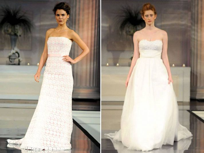 Strapless modified a-line wedding dress with blush pink underlay