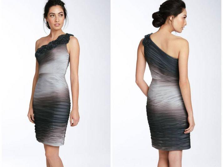One-shoulder sheath ombre bridesmaid dress