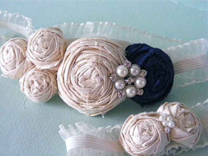 Luxe silk and pearl ivory and navy bespoke bridal garter set