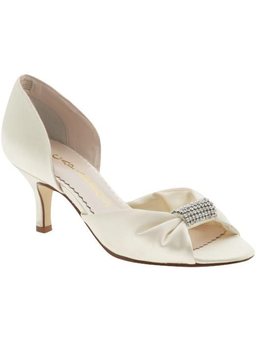 Ivory satin low bridal heels with open toe and rhinestone detail