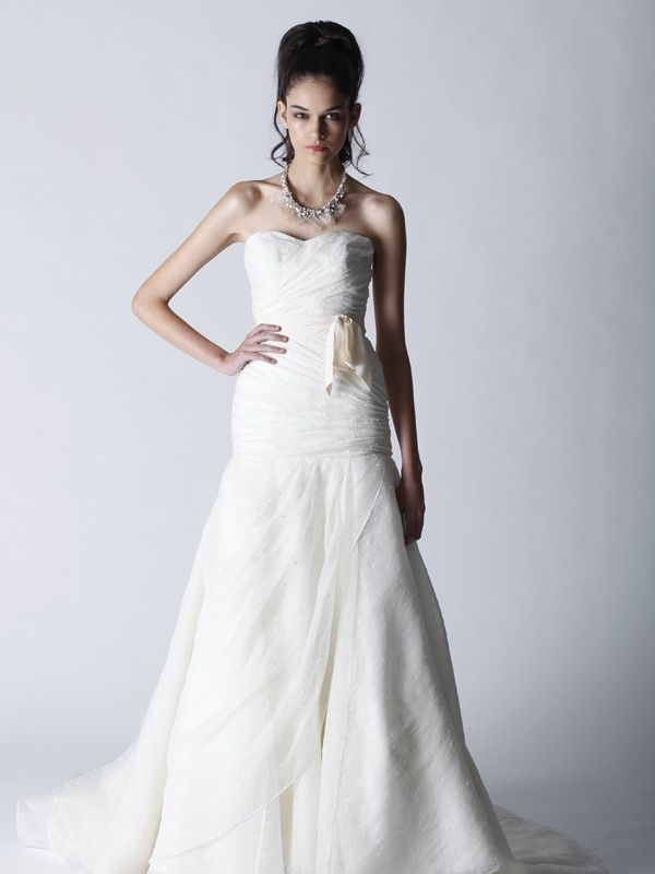 Fall 2011 Melissa Sweet wedding dress with sweetheart neckline and romantic bridal sash