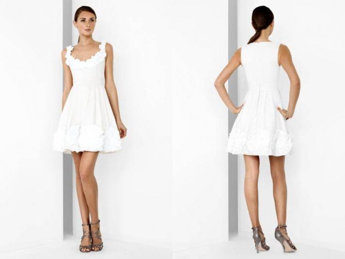 Feminine white wedding reception dress from BCBG