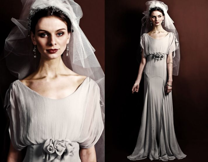 Vintage-inspired 2011 wedding dress with scoop neck and modified mermaid silhouette