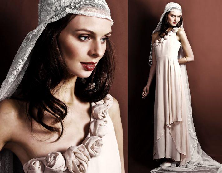 One-shoulder blush chiffon wedding dress with embellished shoulder