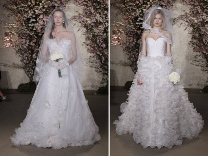 Classic a-line sweetheart wedding dresses with textured skirts