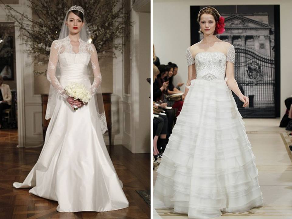 Credit 2012 wedding dresses all about sleeves Reem Acra and Romona Keveza