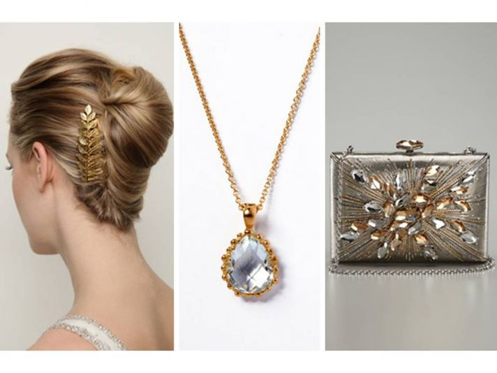 Chic bridal hair accessory, something blue wedding necklace and Judith Leiber clutch