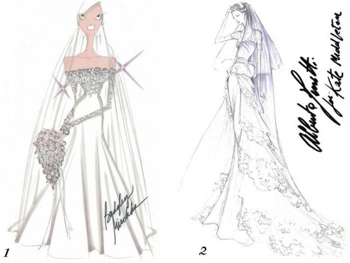 Badgley Mischka and Alberta Ferretti sketch Kate Middleton's wedding dress
