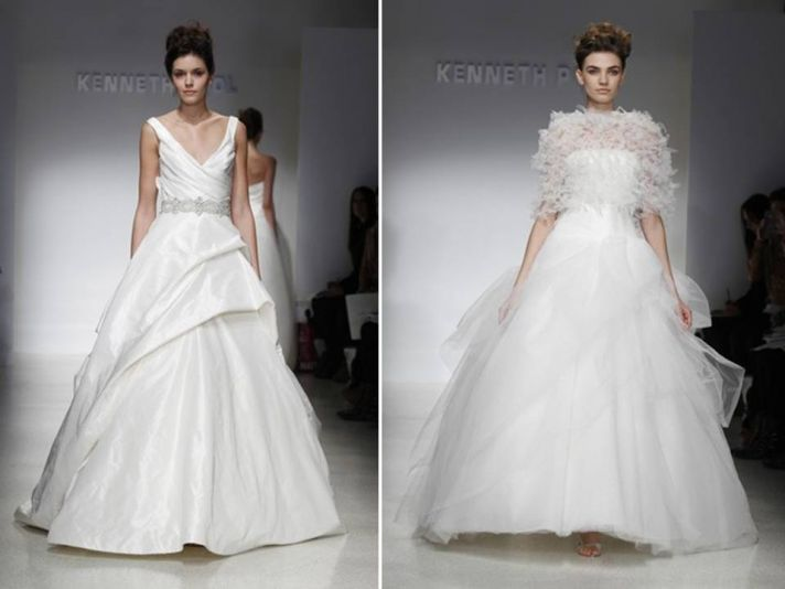 White v-neck ballgown wedding dress and tulle ball gown by Kenneth Pool