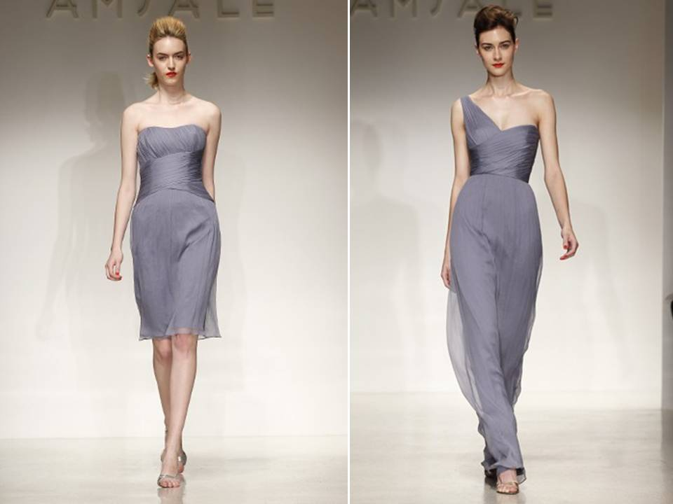 Muted periwinkle bridesmaids dresses with Grecianinspired style