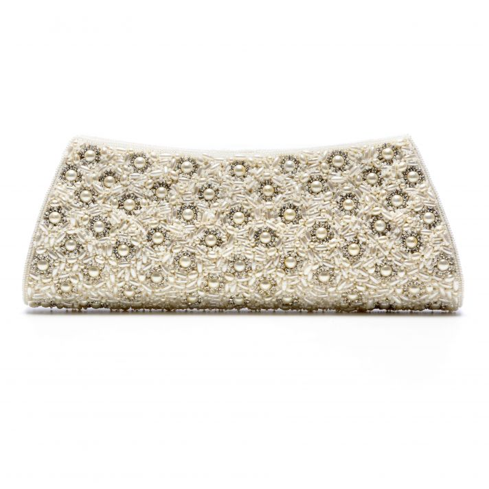 Chic bridal clutch in ivory satin with beading galore