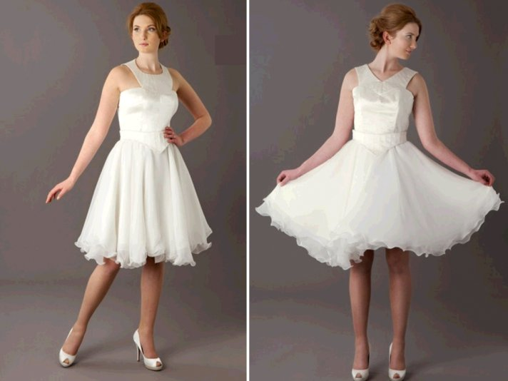 Vintage-inspired flirty wedding reception cocktail dress