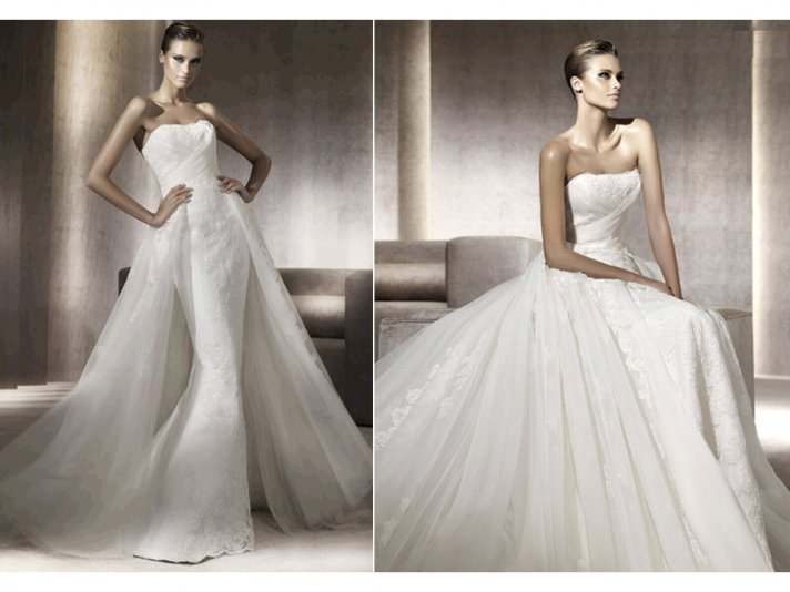 Romantic mermaid lace Pronovias wedding dress with train