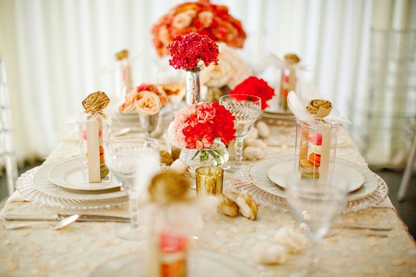 Romantic vintage chic BHLDNinspired wedding reception tablescape