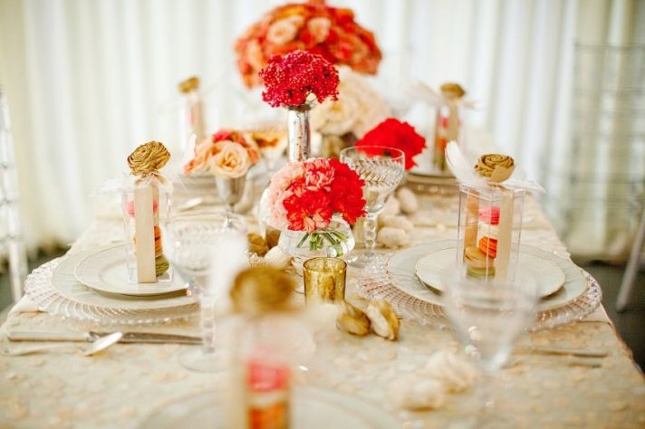 Romantic vintage chic BHLDN-inspired wedding reception tablescape