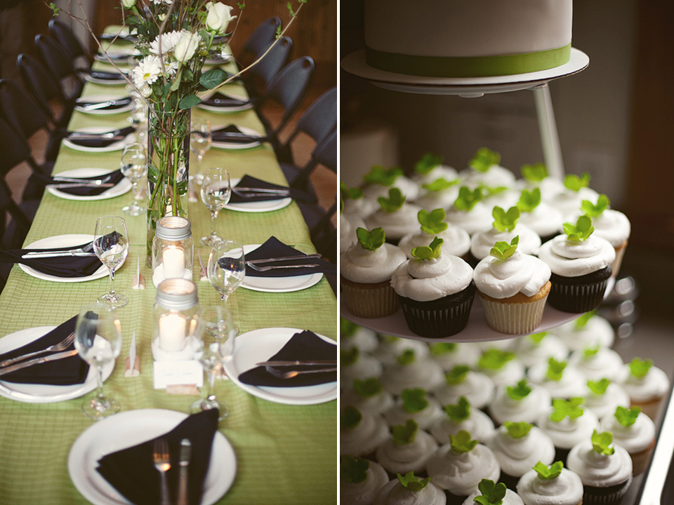 Green white and black wedding color palette and a nontraditional cupcake