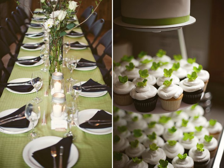 Green, white and black wedding color palette and a non-traditional cupcake tree