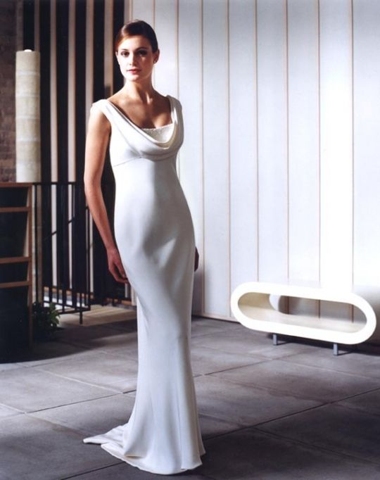Chic ivory modified mermaid cowl neck wedding dress