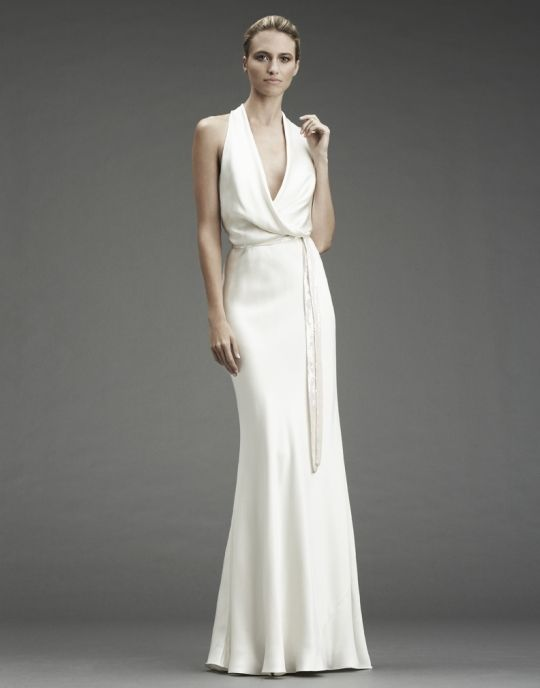 White silk halter column wedding dress with cowl halter neckline