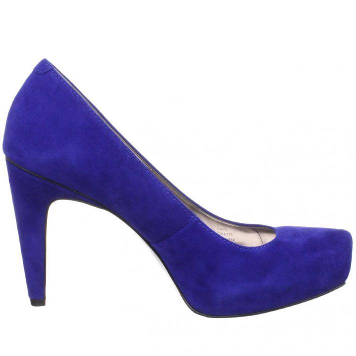 Chic blue suede Calvin Klein bridal heels