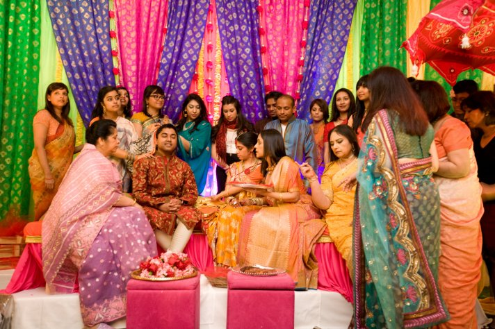 Colorful Indian wedding in NYC- pre-wedding ceremonies with guests