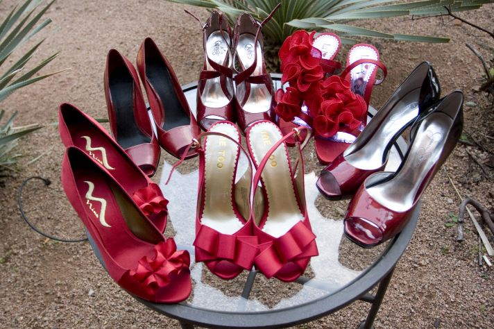 12 Charitable Wedding Ideas and red peep-toe bridal heels