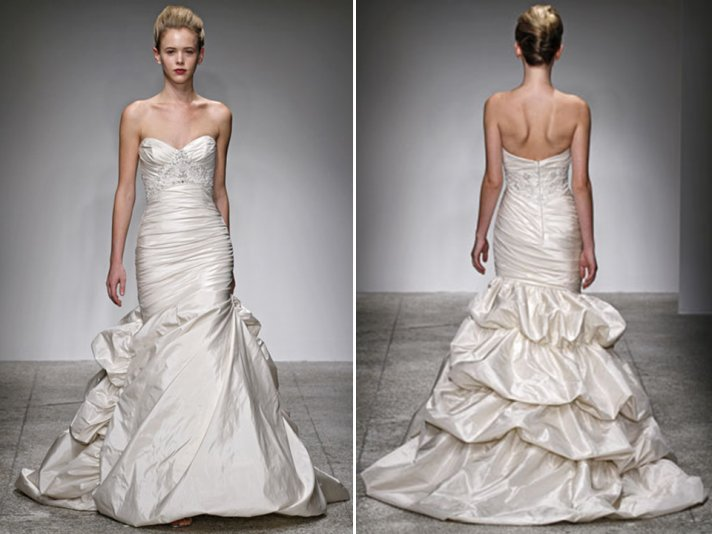 Ivory duchess satin drop-waist trumpet wedding dress by Kenneth Pool