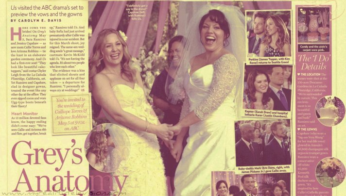 Same-sex Grey's Anatomy wedding featuring Kenneth Pool and Amsale gowns