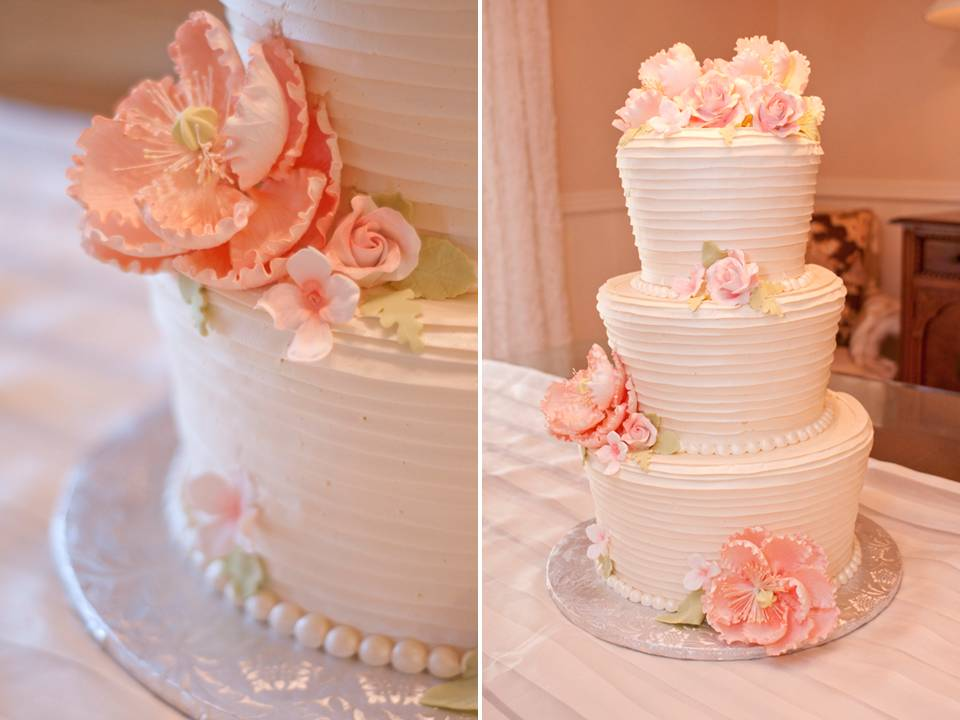 and peach wedding cake with pearl accents and peach peony sugar flowers